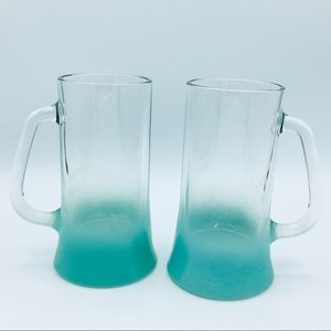 Vintage Aqua Ombré Clear Glass Tall Mugs